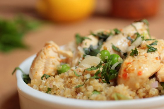 Quinoa and Pea Salad with Harissa Chicken
