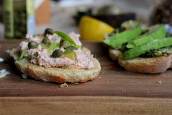 Smoked Salmon Spread + Cilantro Pesto Avocado