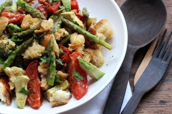 Roasted Asparagus and Avocado Panzanella – a guest post at The Not So Cheesy Kitchen