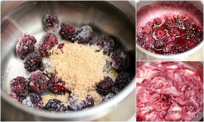Steps for making Blackberry Cheesecake Ice Cream