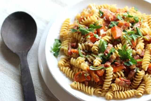 Bacon, Miso and Carrot Pasta