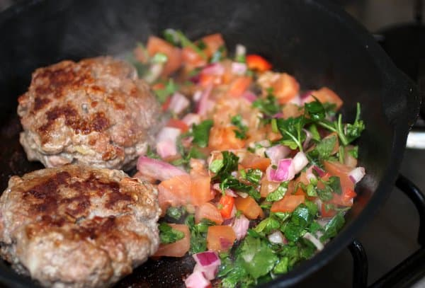 Skillet Blue Cheese Burgers