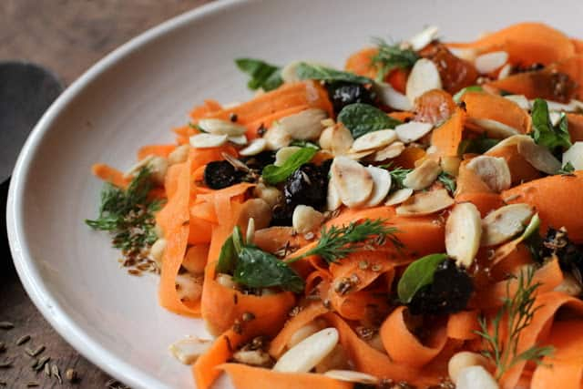 Moroccan Carrot, Chickpea, Dried Fruit and Almond Salad