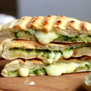 Mozzarella and Pesto Grilled Naan Bread