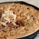 Cinnamon Peanut Butter Skillet Blondies with Ice Cream