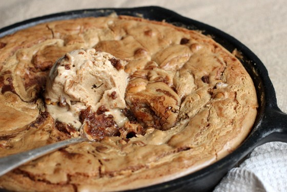 Cinnamon Peanut Butter Skillet Blondies with Ice Cream