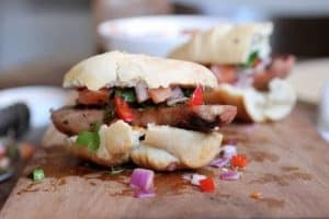 Chorizo, chimichurri and salsa sandwiches