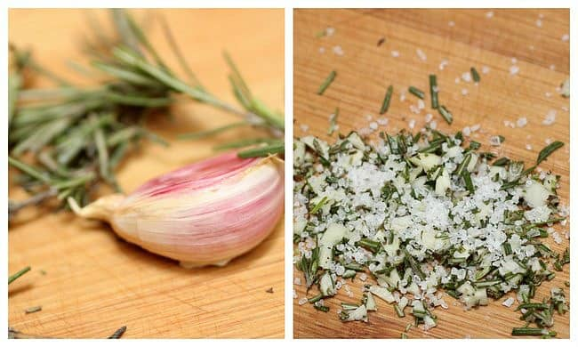 Garlic and rosemary, clove, sprig and minced