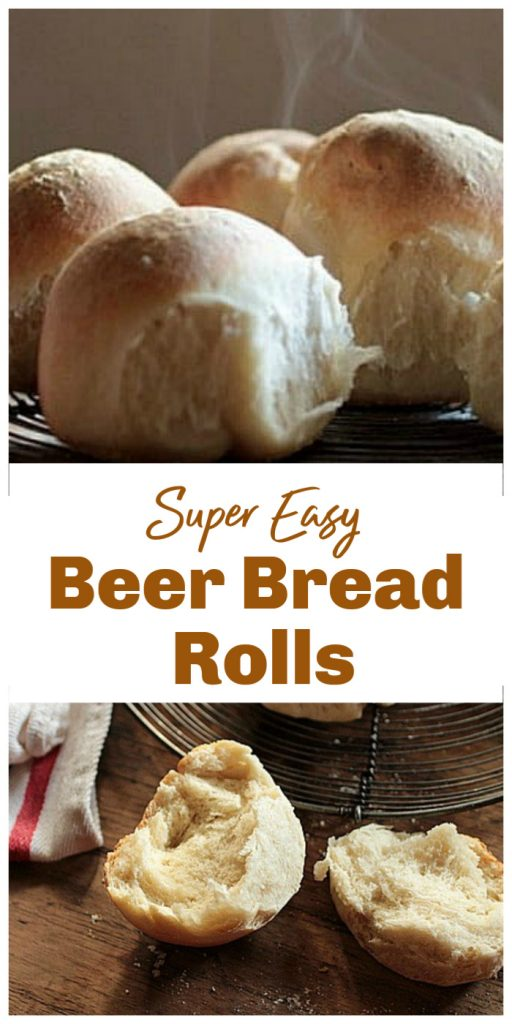 Bread rolls, whole and split, image collage with text