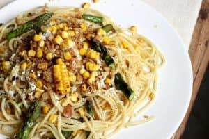 Charred Corn Asparagus Pasta with Brown Butter Breadcrumbs