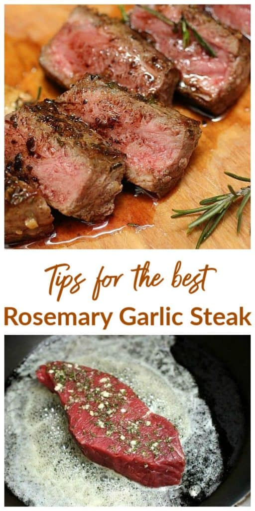 Collage images of Rosemary Garlic steak