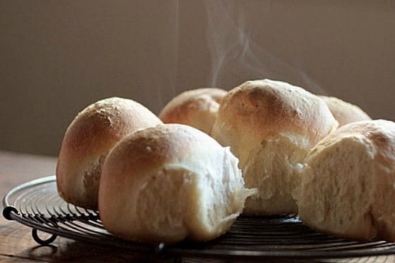 Warm Beer Bread Rolls on wire rack