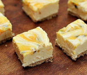 Passion fruit lemon no-bake cheesecake with brown butter crust