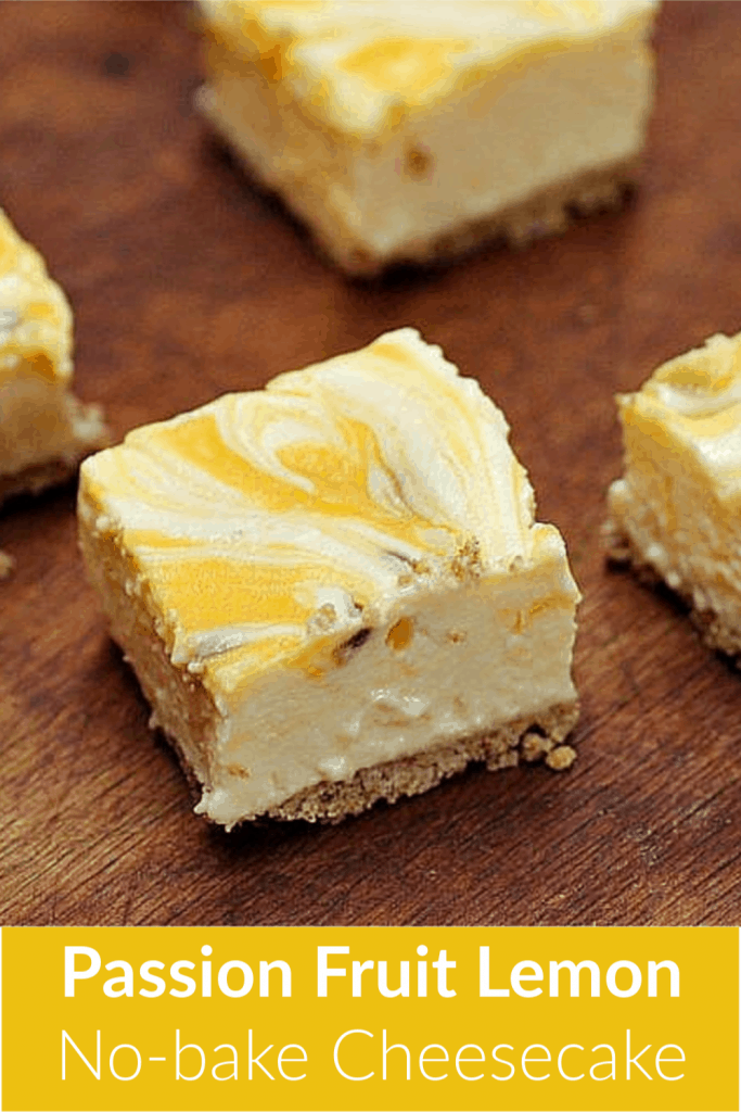 Single square of passion fruit lemon no-bake cheesecake on wooden table