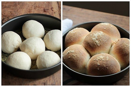 Image collage, raw and baked bread rolls in metal pan