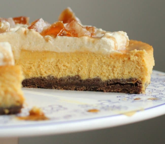 Candied Pumpkin Cheesecake with Maple Cream and Brown Butter Chocolate Crust