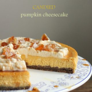 Candied Pumpkin Cheesecake with Maple Cream