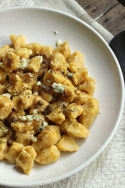Homemade pumpkin ricotta gnocchi with blue cheese brown butter
