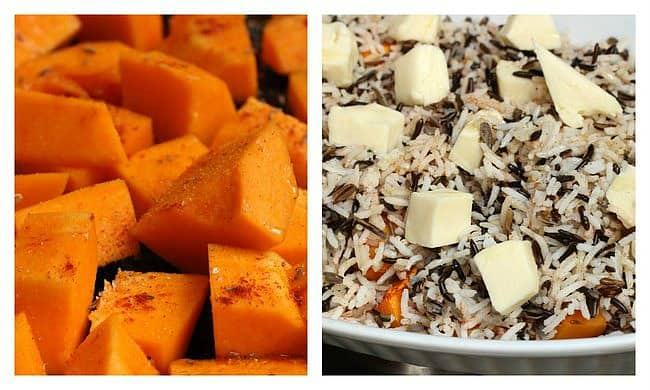 Squash dices and unbaked rice cheese casserole, image collage