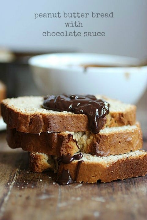 Peanut Butter Buckwheat Bread with Chocolate Sauce