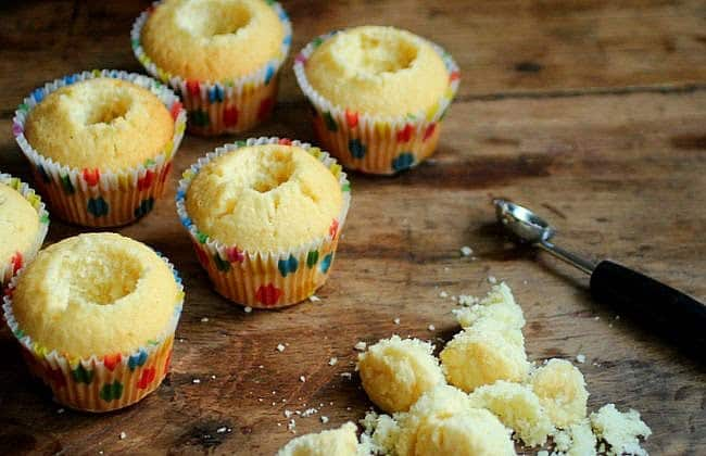 coconut cupcakes with passion fruit curd