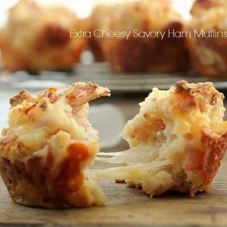 Extra Cheesy Savory Ham Muffins