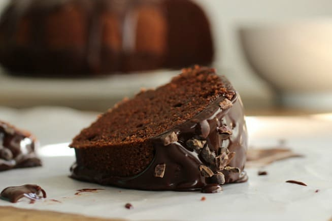 Bourbon Hot Chocolate Bundt Cake #BundtBakers