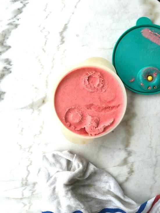 Easy no-churn blender berry ice cream