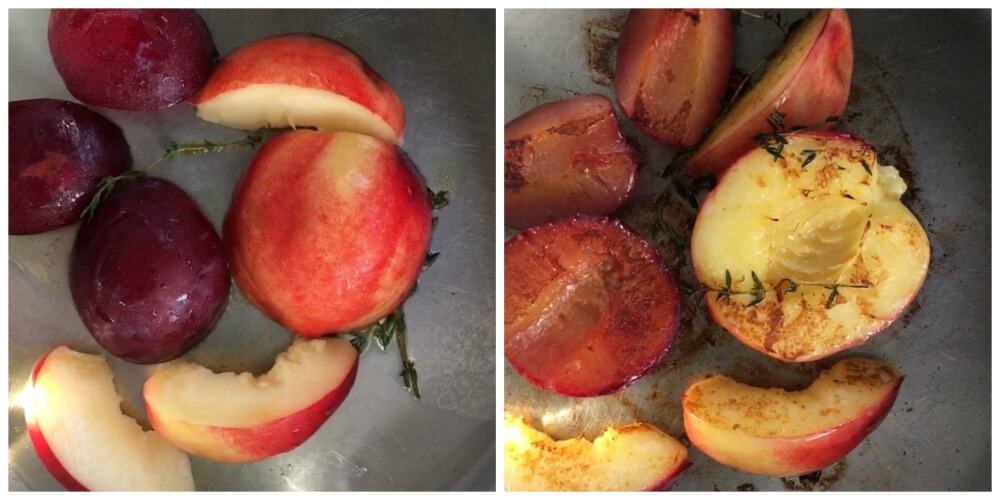 Images of stone fruit before and after it's sauteed in skillet, thyme leaves