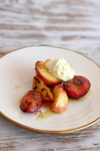 Honey Stone Fruit with thyme, cream and olive oil