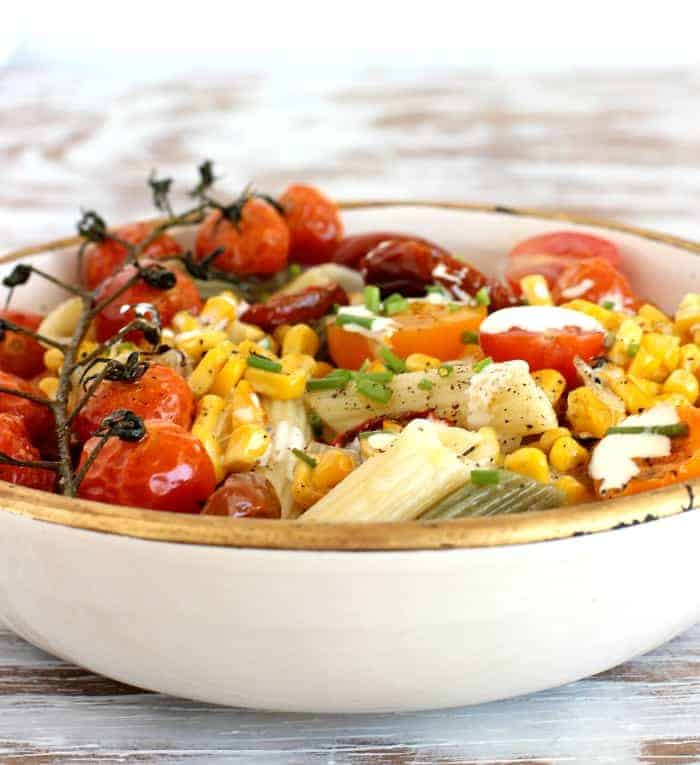 Roasted Corn Tomato Pasta Bowl