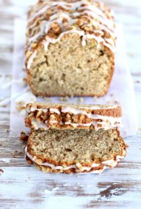 Glazed olive oil walnut apple cake