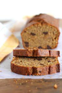 Healthier dark chocolate chip banana bread