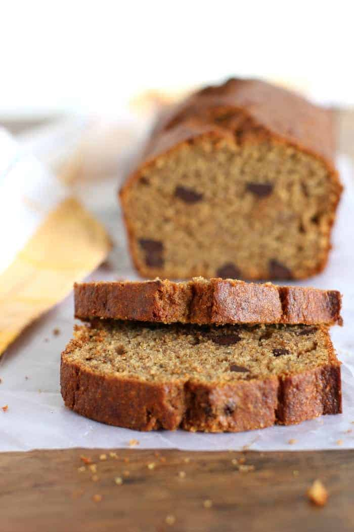 Healthier dark chocolate chip banana bread
