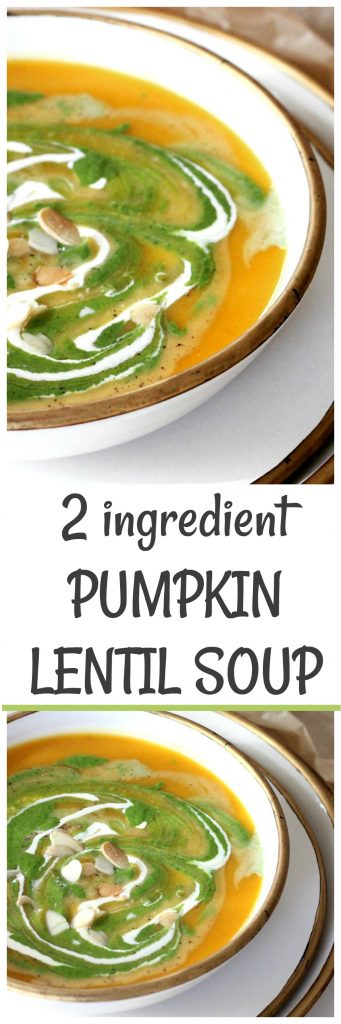 butternut squash lentil soup on white bowl, gold rim