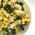 Broccoli and corn easy pasta bowl