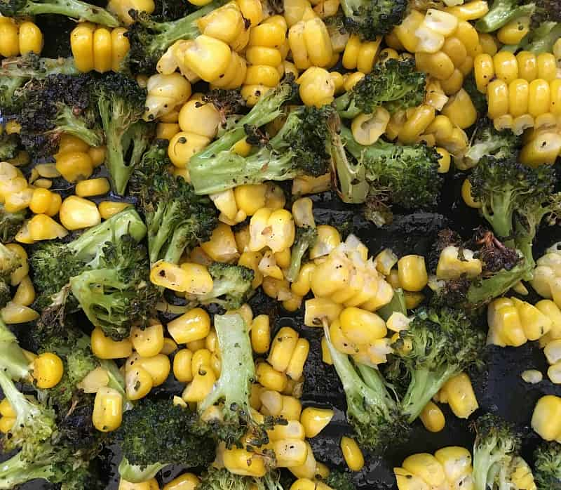 Close-up image of roasted Broccoli and corn