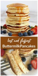 Collage of Buttermilk pancakes, stack with fruit, fork with pieces
