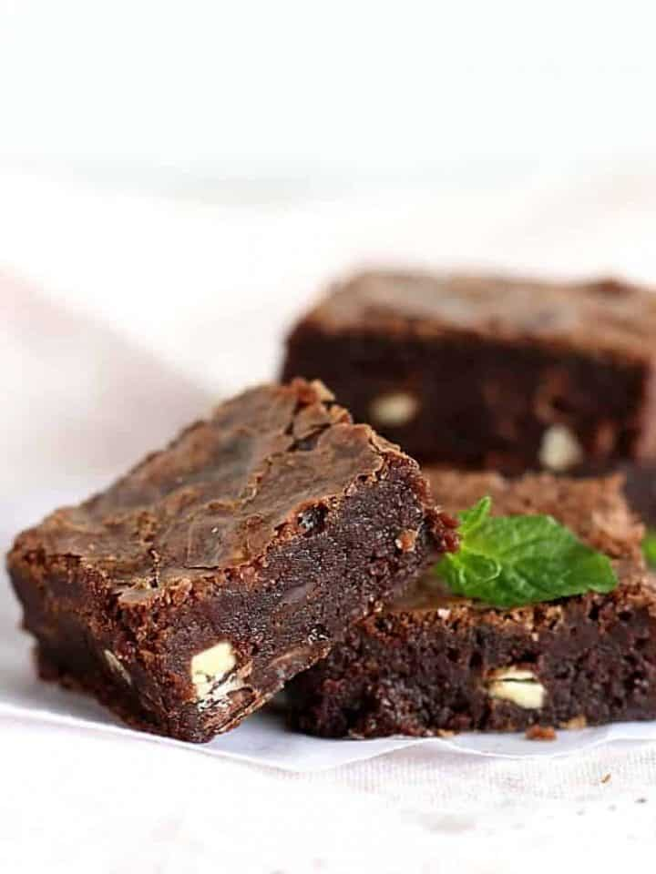Fudgy chocolate mint brownies