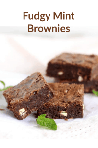 Close up of chocolate mint brownie squares, light surface, pinterest text
