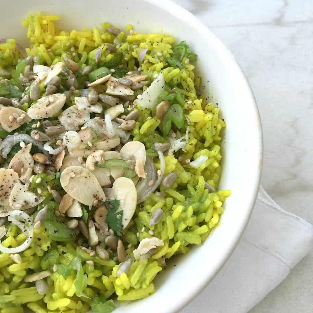 Easy Basmati rice with salsa verde