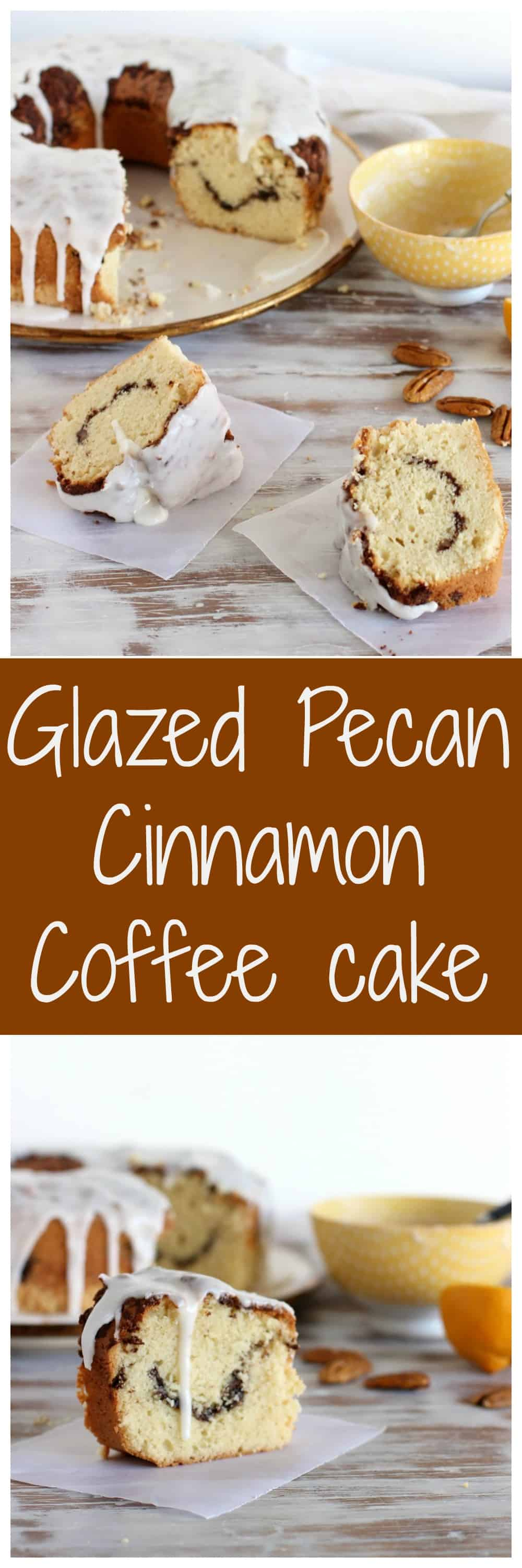 GLAZED PECAN CINNAMON COFFEE CAKE is so amazing! Full of flavor, perfect crumb and a streusel that will keep you coming for more. #baking #coffeecake #pecan #cake