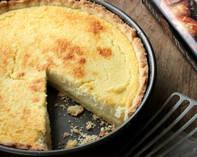 Pie pan with the best Lemon ricotta pie