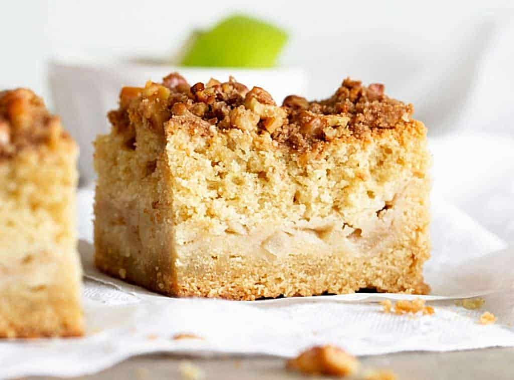 Close-up of single apple coffee cake square