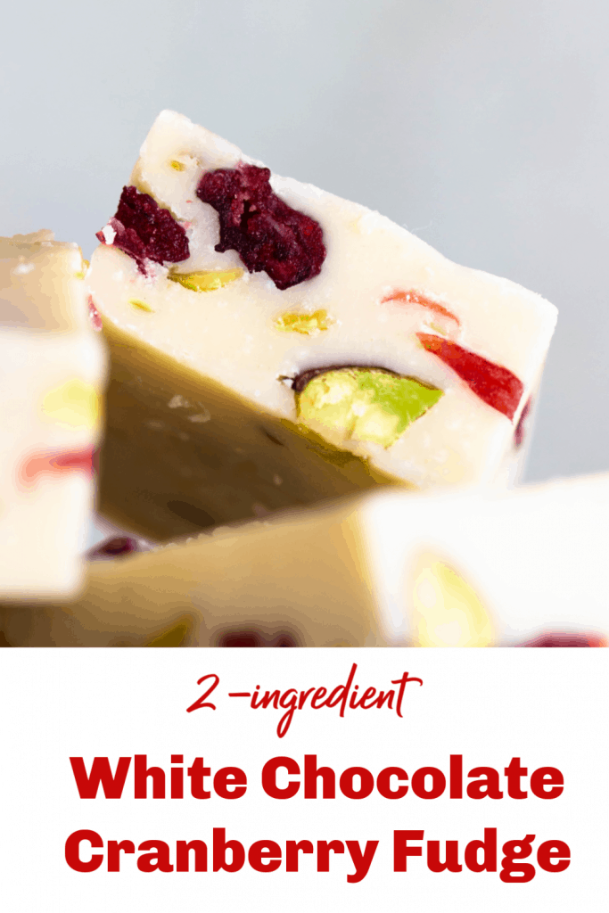 Close up image of white chocolate cranberry pistachio fudge