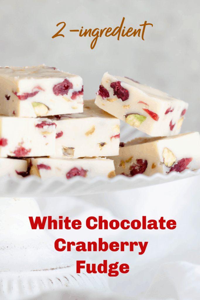White cake stand with squares of white cranberry fudge