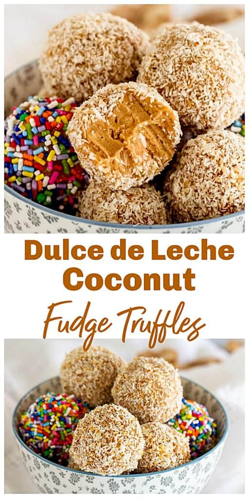 Bowl of dulce de leche truffles with coconut and sprinkles, with text