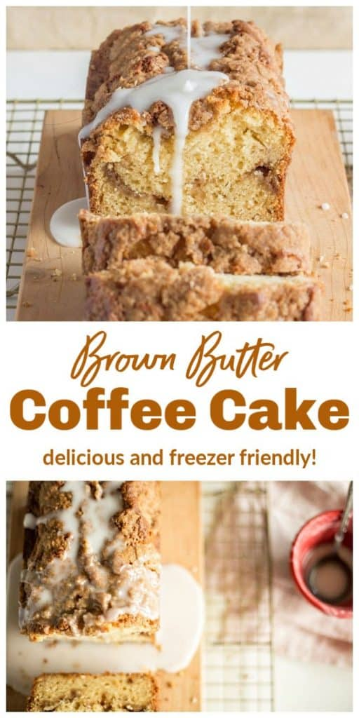 Double image collage of glazed coffee cake loaf, brown text overlay