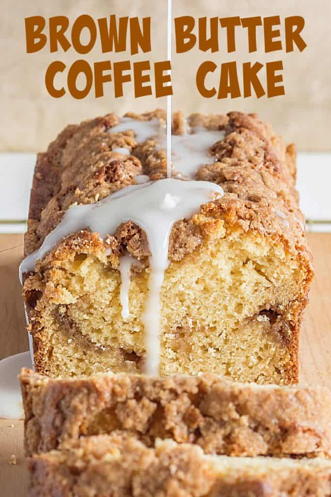 Brown text on close up of glazed loaf coffee cake