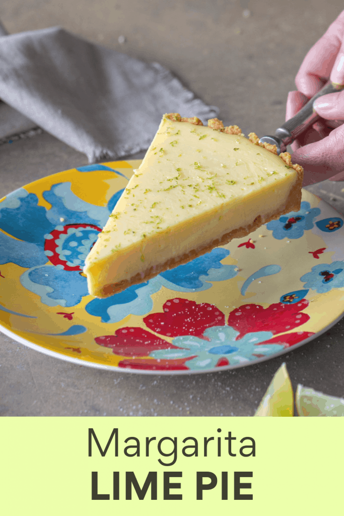 Slice of lime pie on colorful plate; image with text